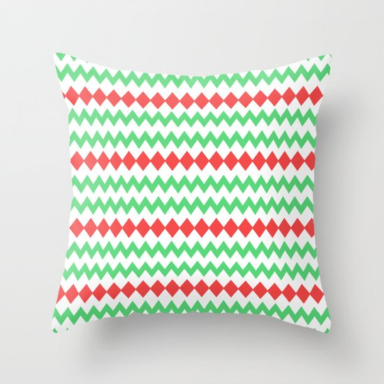 Chevron diamond in green and red Throw Pillow