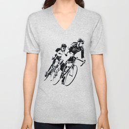 Bicycle racers into the curve... Unisex V-Neck