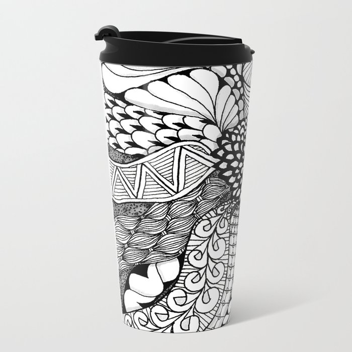 Zentangle Black and White Summer Sunflower Metal Travel Mug