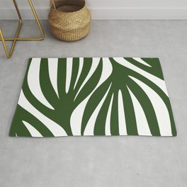 Maldives Minimalist Botanical Abstract in Forest Green and White  Rug
