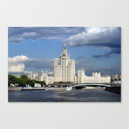 Moscow skyscraper, view from Moscow-river, sunny summer day Canvas Print