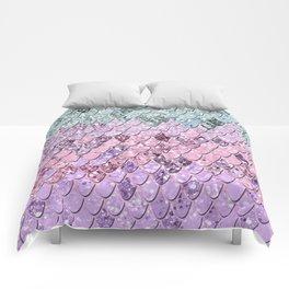 Mermaid Scales with Unicorn Girls Glitter #4 #shiny #pastel #decor #art #society6 Comforters