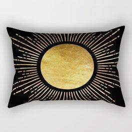 Golden Sunburst Starburst Noir Rectangular Pillow