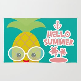 Hello Summer cute funny kawaii exotic fruit pineapple with sunglasses Rug