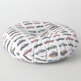 Watercolor Vintage Cars Floor Pillow