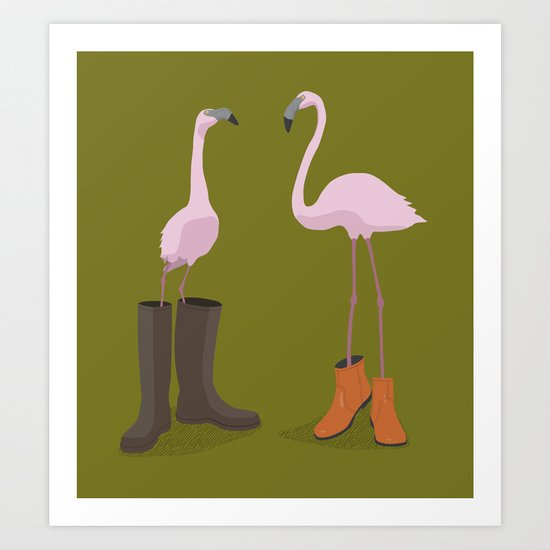 Fashion Flamingos Art Print