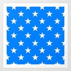 Stars (White/Azure) Art Print