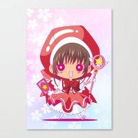 chibi Canvas Prints featuring Chibi Sakura by Neo Crystal Tokyo