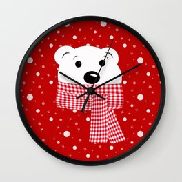Muzzle of a polar bear on a red background. Wall Clock