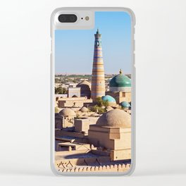 Panoramic view of Islam Khodja Minaret and mosque - Khiva, Uzbekistan Clear iPhone Case