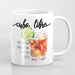 Cuba Libre - Watercolour Cocktail - Typography Art Coffee Mug