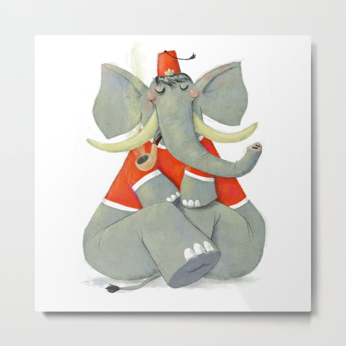 Elephant with Fez Smoking a Pipe Metal Print