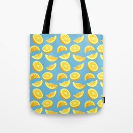 Lemon Slices and Wedges on blue Tote Bag