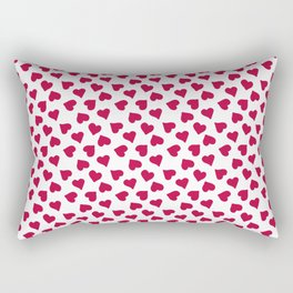 Pink hearts on a white background Rectangular Pillow