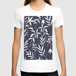 White bamboo leaves on a blue background T-shirt
