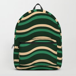 Green Horizontal Lined Waves Backpack