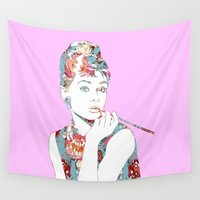 audrey Wall Tapestries featuring Audrey by Laura Maria Designs