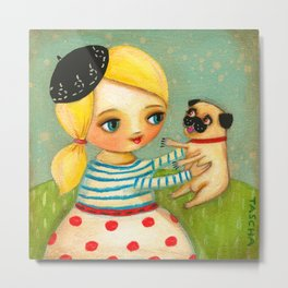 FRENCH GIRL with Fawn Pug in Paris Metal Print