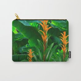 GREEN JUNGLE & TROPICAL CORAL BROMELIAD FLOWERS Carry-All Pouch