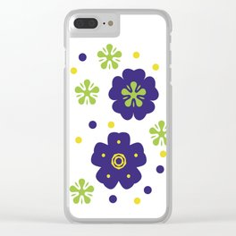 Colorful Japanese geometric flowers Clear iPhone Case