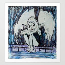 BORED ALBINO FALLEN ANGEL Art Print