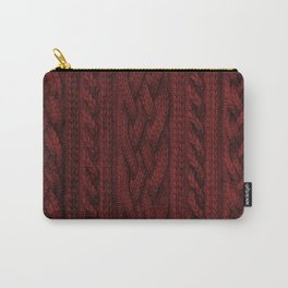 Cardinal Red Cable Knit Carry-All Pouch