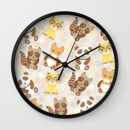 Funny cute raccoon, panda, fox, cat on dot background Wall Clock