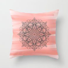 Coral Mandala Throw Pillow