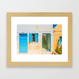 Typical blue door and window in Emporio on the island of Santorini Framed Art Print