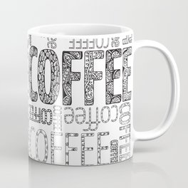 Color-in coffee typography art coloring page Coffee Mug