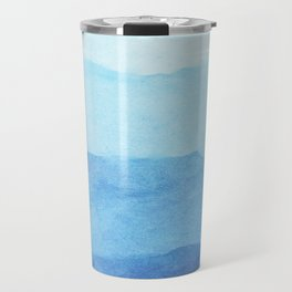 Ombre Waves in Blue Travel Mug