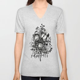 Pen and Ink Drawing --APPLES---Black and white art, wall art Unisex V-Neck