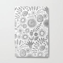 heart fleur mono Metal Print