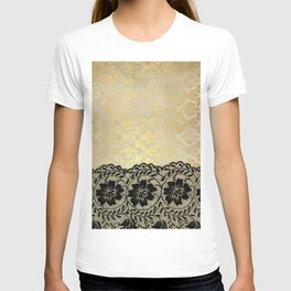 Black floral luxury lace on gold damask pattern T-shirt