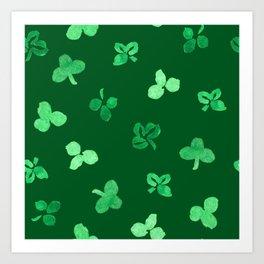 Clover Leaves Pattern on Green Art Print