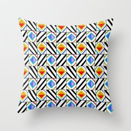 symetric tartan and gingham 18 -vichy, gingham,strip,square,geometric, sober,tartan Throw Pillow