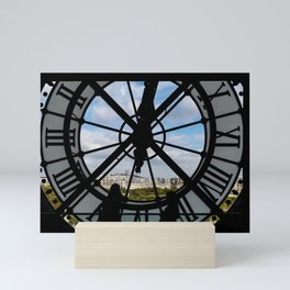 Paris cityscape through the giant glass clock at the Musee d'Orsay Mini Art Print