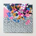 Kenzi - abstract painting minimal hot pink blue dots color palette boho hipster decor nursery by charlottewinter