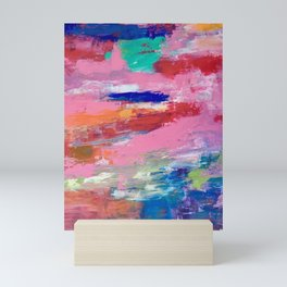 Lucky #13, a contemporary abstract in pinks and fuchsias Mini Art Print