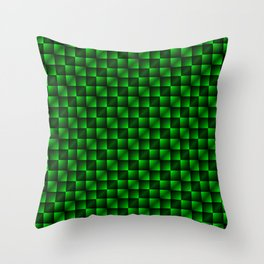 Fashionable large lozenges from small green intersecting squares in gradient dark cage. Throw Pillow