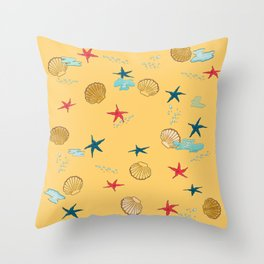 seashells and starfishes - yellow-orange Throw Pillow