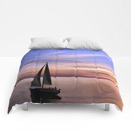 Sailing at sunset Comforters