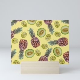 Pineapple - Honeymoon - Kiwi Fruits pattern yellow Mini Art Print