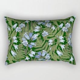 Bluebell flowers and fern leaves Rectangular Pillow
