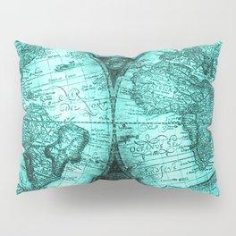 Vintage Turquoise Green Map Design Pillow Sham