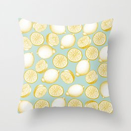 Lemons On Turquoise Background Throw Pillow