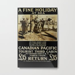 A Fine Holiday at Sea Vintage Travel Poster Metal Print
