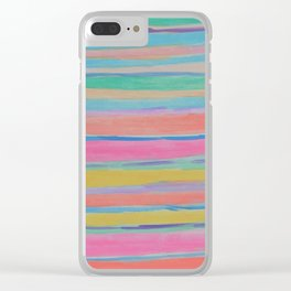 Rainbow Row Abstract Clear iPhone Case