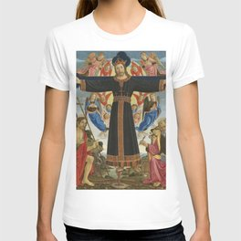 Master of the Fiesole Epiphany - Christ on the Cross with Saints Vincent Ferrer, John the Baptist, M T-shirt