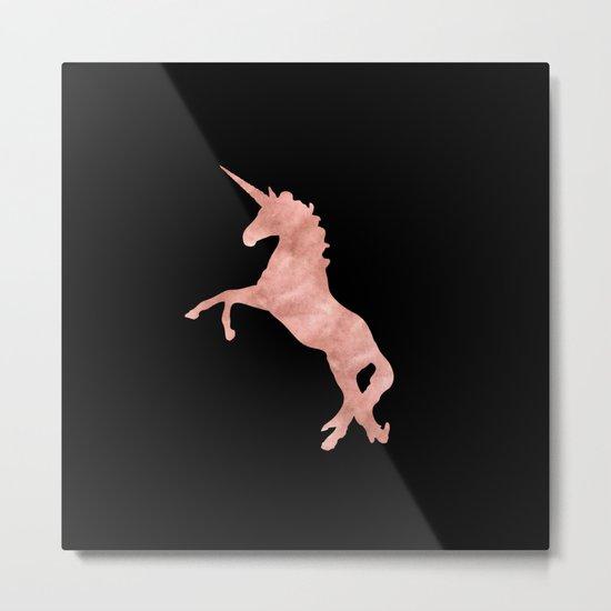 Unicorn Pink Rose Gold Black Metal Print